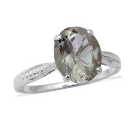 Prasiolite (Ovl 11x9mm) Solitaire Ring in Sterling Silver 3.29 Ct.