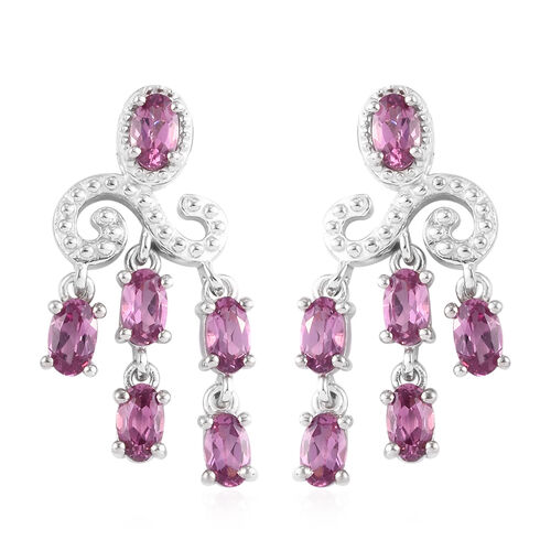 Lotus Garnet Chandelier Earring (with Push Back) in Platinum Overlay Sterling Silver 3.50 Ct.
