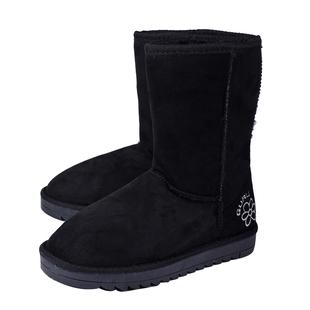 GURU Womens Winter Suede Fluffy Ankle Boots Black