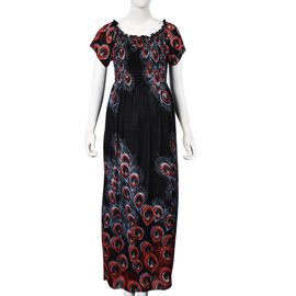 Black, Brown and Red Colour Peacock Feathers Pattern Summer Dress (Size 48x125 Cm)