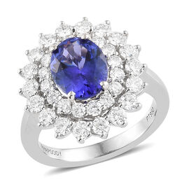 RHAPSODY 4.11 Ct AAAA Tanzanite and Diamond Double Halo Ring in 950 Platinum 8.99 Grams