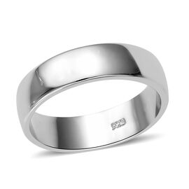 High Finish Plain Band Ring in Platinum Pated Sterling Silver 3.38 Grams