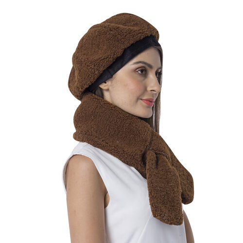 Super Soft Sherpa Style Beret Hat and Scarf Set - (Scarf:13x92cm) (Hat:One Size) - Brown