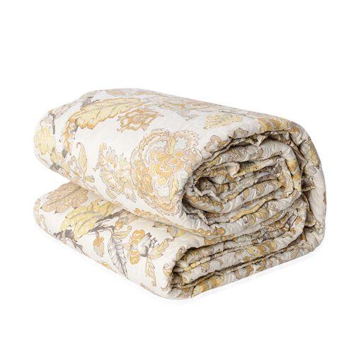 Single Size Microfiber Sherpa Quilt (Size 240x180 Cm) Cream and Multi Colour
