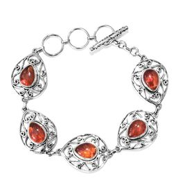 AA Fire Opal Bracelet (Size 6.5- 7.5) in Sterling Silver 3.970 Ct, Silver wt 18.04 Gms.