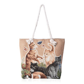 Beige and Multicolour Cats Pattern Tote Bag (Size 43x35x11x39 Cm) with Zipper Closure