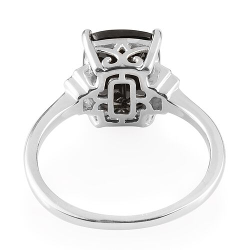 Elite Shungite (Cush 11x9 mm), Natural Cambodian Zircon Ring in Platinum Overlay Sterling Silver 2.68 Ct.