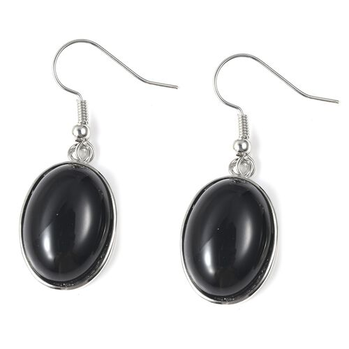 Black Agate (Ovl) Bracelet (Size 8 with 1 inch Extender) and Hook Earrings in Stainless Steel 175.00 Ct.