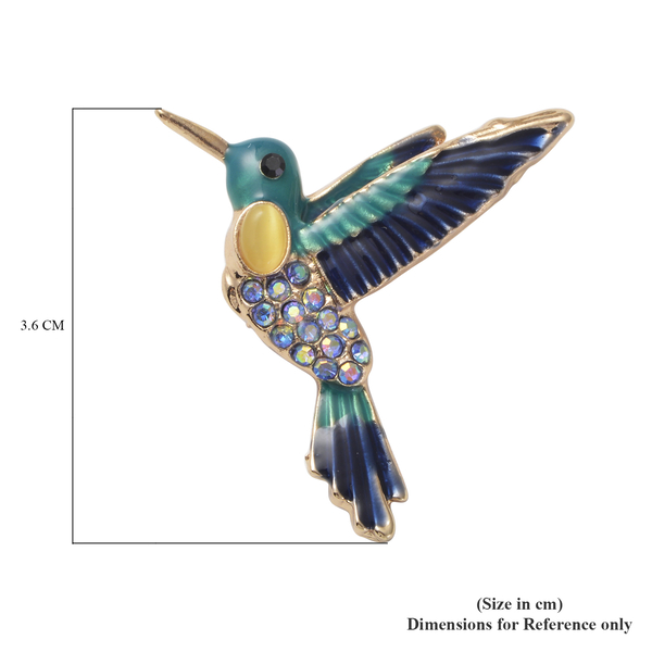 Simulated Yellow Cats Eye, Black Austrian Crystal and Blue Magic Colour Austrian Crystal Enamelled Hummingbird Brooch in Gold Tone