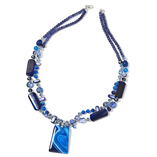 Blue Agate, Blue Shell and Simulated Sapphire Necklace (Size 29 with 2.50 inch Extender) in Silver Plating.
