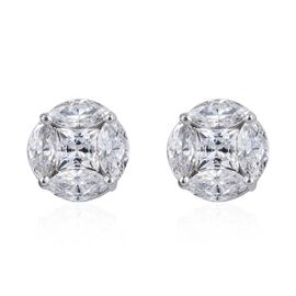J Francis - Platinum Overlay Sterling Silver (Mrq 6x3 mm) Stud Earrings (with Push Back) Made with SWAROVSKI ZIRCONIA