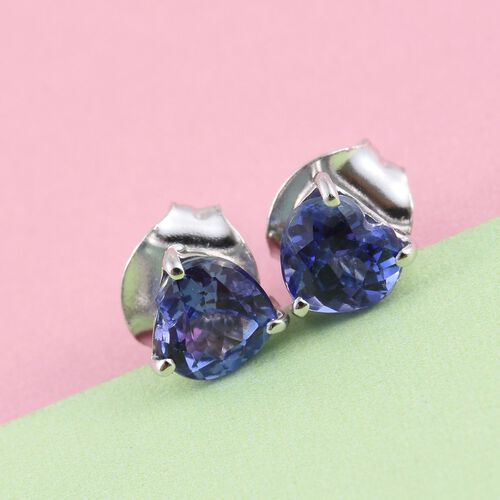 9K W Gold AA Tanzanite (Hrt) Stud Earrings (with Push Back) 0.750 Ct.