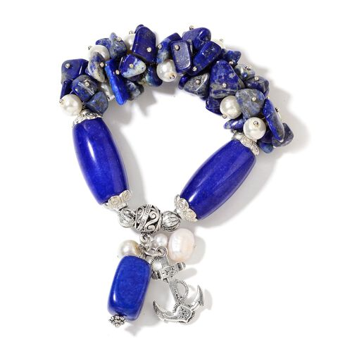Set of 2- Rose Quartz, Lapis Lazuli, Simulated White Pearl and Multi Colour Gemstone Stretchable Beads Bracelet (Size 7.50) with Charm in Silver Plated