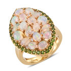 Ethiopian Welo Opal (Ovl), Russian Diopside and Natural Cambodian Zircon Ring (Size O) in 14K Gold Overlay St