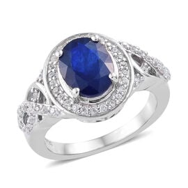 2.50 Carat Blue Spinel and Cambodian Zircon Halo Ring in Sterling Silver 4.28 Grams