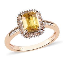 9K Yellow Gold Yellow Sapphire and Diamond Ring 1.40 Ct.