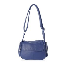 Sencillez 100% Genuine Leather Navy Colour Cross Body Bag with Adjustable Shoulder Strap (Size 22x20