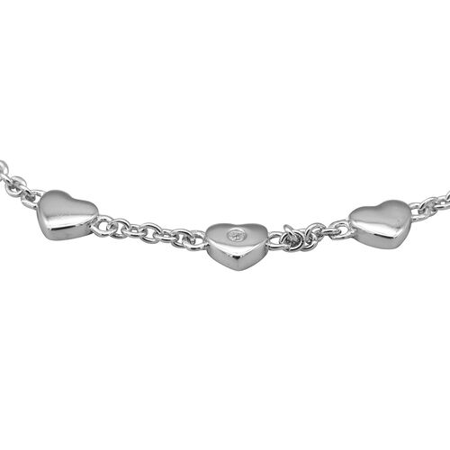 Italian Made - Diamond Heart Bolo Bracelet (Size 7.5) in Rhodium overlay Sterling Silver