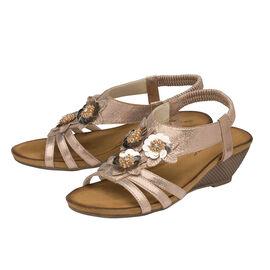 DUNLOP Gwen Floral Open Toe Sandals With Elasticated Sling-Back - Rose Gold