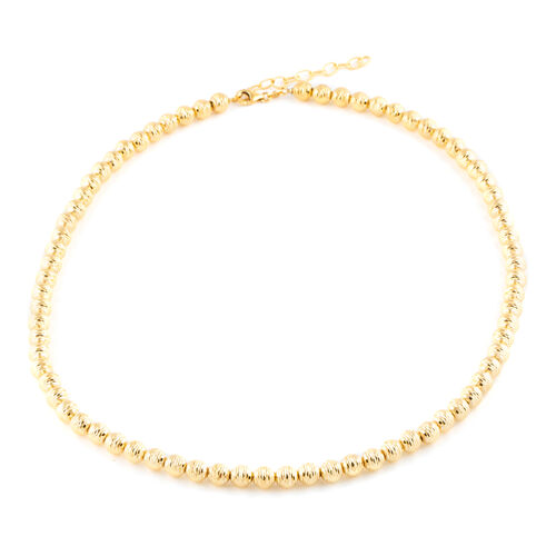 One Time Deal-9K Yellow Gold Beads Necklace (Size 18 with 2 Inch Extender), Gold wt 17.00 Gms.