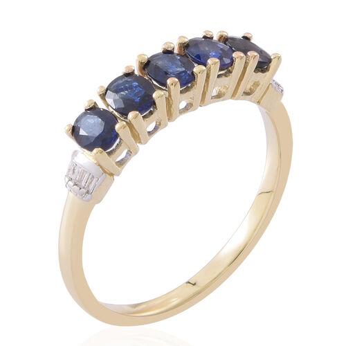 9K Yellow Gold AAA Australian Blue Sapphire (Ovl), Diamond Ring 1.750 Ct.