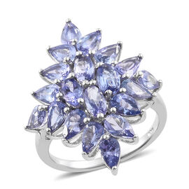 Tanzanite (Ovl) Cluster Ring in Platinum Overlay Sterling Silver   3.750 Ct.