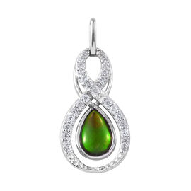 AA Canadian Ammolite (Pear), Natural Cambodian Zircon Pendant in Platinum Overlay Sterling Silver