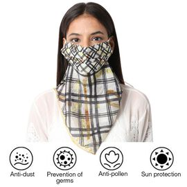 New Arrival- 2 in 1 Stripe Pattern 100% Mulberry Silk Scarf and Protective Face Covering in Black an