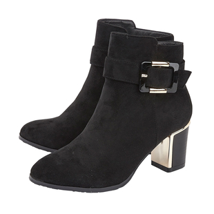 Lotus CHARLOTTE Heeled Ankled Boots with Buckle (Size 4) - Black