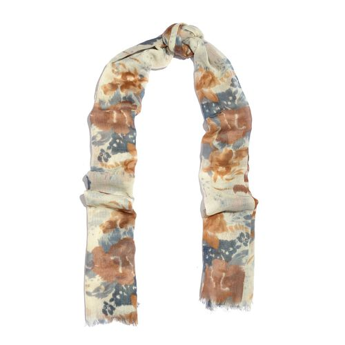 100% Merino Wool Tan, White and Multi Colour Floral Printed Scarf with Fringes (Size 180X70 Cm)