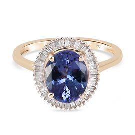 9K Yellow Gold Tanzanite and Diamond Halo Ring 2.700 Ct.