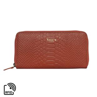 Assots London HAZEL Python Embossed Genuine Leather RFID Zip Around Purse (Size 20x2x10 Cm) - Red