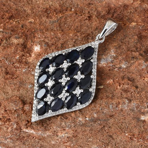 Madagascar  Blue Sapphire (Ovl), Natural Cambodian Zircon Pendant in Platinum Overlay Sterling Silver 4.750 Ct.