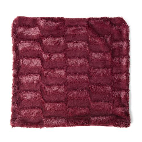 Set of 2 - Maroon Colour Faux Fur and Mink Cushion Cover with Zipper (Size 45.72x45.72 Cm)
