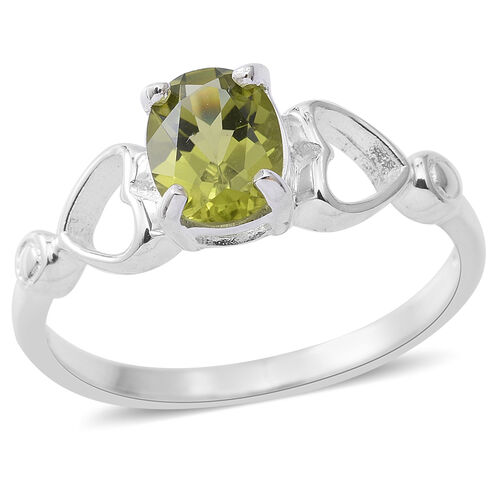 Hebei Peridot (Ovl) Solitaire Ring in Rhodium Overlay Sterling Silver 1.300 Ct.