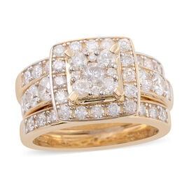 3 Piece Set - 14K Yellow Gold Diamond (Rnd) (I1-I2/G-H) Ring 2.00 Ct, Gold wt 9.50 Gms