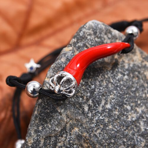 GP Red Chilli Bracelet (Size 6.5-9 Adjustable), Blue Sapphire in Platinum Overlay Sterling Silver