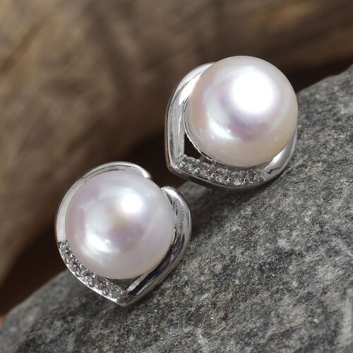 Fresh Water Pearl (Rnd), Natural Cambodian Zircon Stud Earrings (with Push Back) in Platinum Overlay Sterling Silver