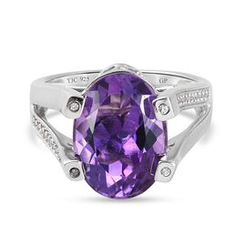 GP Art Deco Collection - Amethyst, Natural Cambodian Zircon and Kanchanaburi Blue Sapphire Ring in P