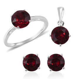 3 Piece Set - J Francis Crystal from Swarovski Ruby Colour Crystal Solitaire Ring, Stud Earrings (wi