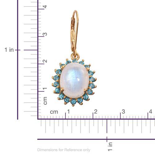 Sri Lankan Rainbow Moonstone (Ovl), Signity Pariaba Topaz Lever Back Earrings in 14K Gold Overlay Sterling Silver 12.250 Ct.