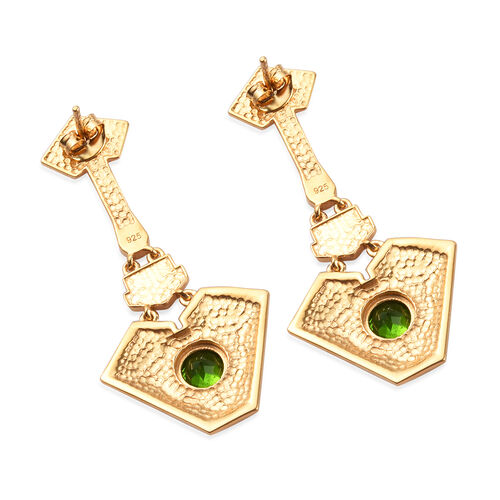 Russian Diopside Enamelled Earrings in 14K Gold Overlay Sterling Silver 1.50 Ct, Silver wt 8.00 Gms