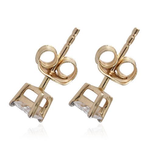 14K Yellow Gold Diamond (Trl) Stud Earrings (with Push Back) 0.400 Ct.