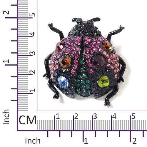 Multi Colour Simulated Diamond (Rnd), Multi Colour Austrian Crystal Ladybird Brooch in Black Plated
