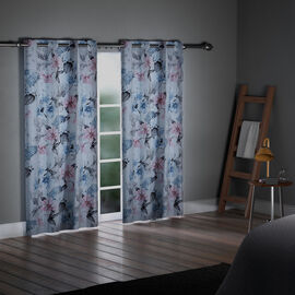SERENITY NIGHT Set of 2 -  Flower Pattern Blackout Curtain with 8 Eyelets and LED Band (Size 140x240cm) - Pink & Blue