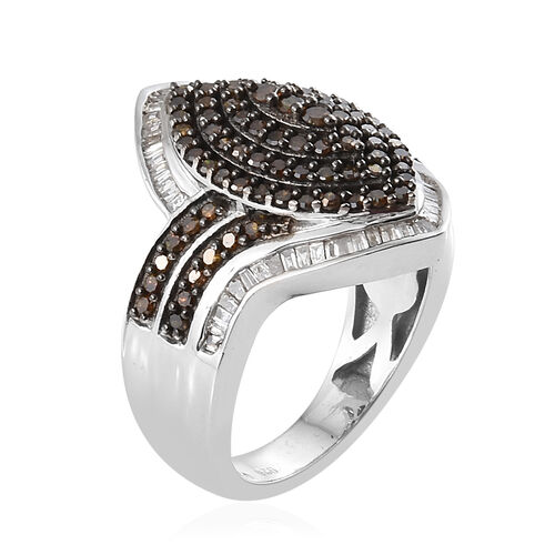 Red Diamond (Rnd), White Diamond Ring in Platinum Overlay Sterling Silver 1.000 Ct, Silver wt 6.26 Gms, Number of Diamond 167