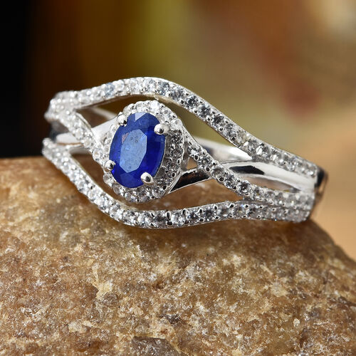 Blue Spinel (Ovl), Natural Cambodian Zircon Ring in Platinum Overlay Sterling Silver 1.355 Ct.