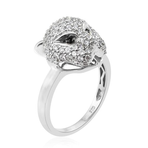 J Francis - Designer Inspired- Platinum Overlay Sterling Silver (Rnd) Leopard Ring Made with SWAROVSKI ZIRCONIA and Boi Ploi Black Spinel. Silver wt 6.11 Gms.