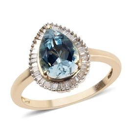 9K Yellow Gold Espirito Santo Aquamarine (Pear 10x7 mm), Diamond Ring 2.00 Ct.