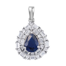 2.25 Ct Blue Spinel and Cambodian Zircon Halo Pendant in Platinum Plated Sterling Silver